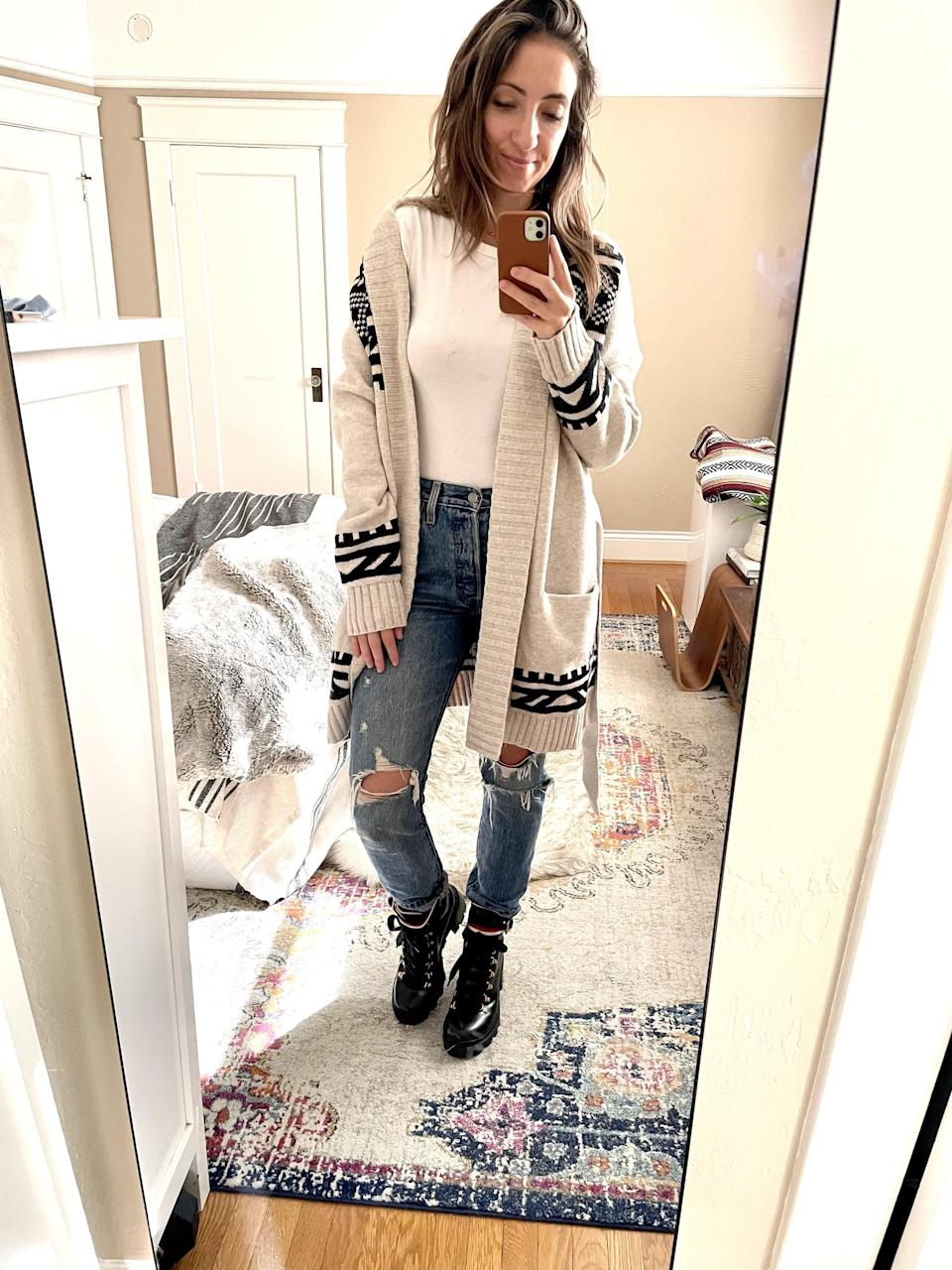 """<p><strong>The item:</strong> <span>Old Navy Cozy Fair Isle Tie-Belt Cardigan Sweater</span> (Sold Out)</p> <p><strong>What our editor said:</strong> """"It's nice and big - perfect for staying warm. I wore it with medium-rinse ripped jeans, combat boots, and a simple white T-shirt tucked in. The sweater is the standout piece of this look, so I didn't want anything to compete with it."""" - RB</p> <p>If you want to read more, here is the <a href=""""http://www.popsugar.com/fashion/old-navy-cardigan-sweater-review-48009561"""" class=""""link rapid-noclick-resp"""" rel=""""nofollow noopener"""" target=""""_blank"""" data-ylk=""""slk:complete review"""">complete review</a>.</p>"""