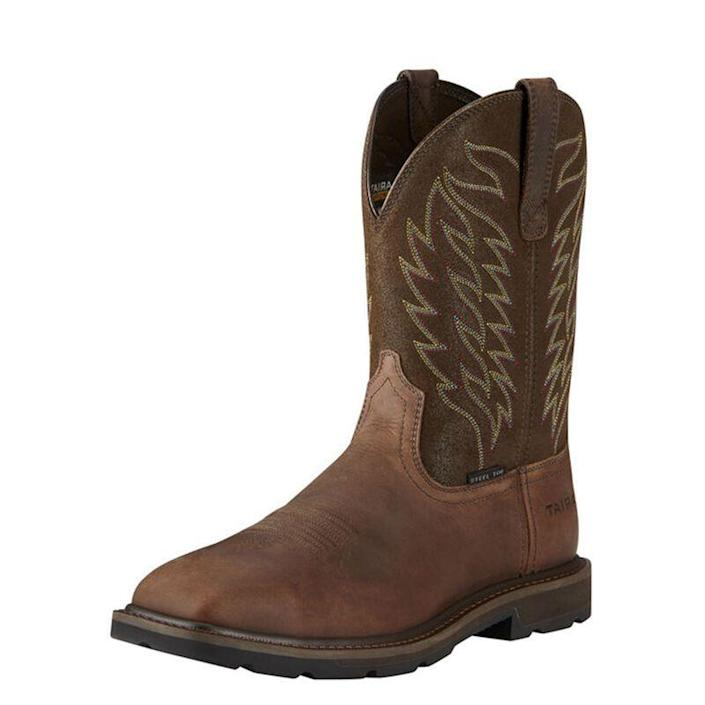 """<p><strong>ariat</strong></p><p>ariat.com</p><p><strong>$149.95</strong></p><p><a href=""""https://go.redirectingat.com?id=74968X1596630&url=https%3A%2F%2Fwww.ariat.com%2FP13325_M_FOO.html%3Fdwvar_P13325__M__FOO_color%3DBROWN&sref=https%3A%2F%2Fwww.menshealth.com%2Fstyle%2Fg19540212%2Fwork-boots-for-men%2F"""" rel=""""nofollow noopener"""" target=""""_blank"""" data-ylk=""""slk:BUY IT HERE"""" class=""""link rapid-noclick-resp"""">BUY IT HERE</a></p><p>Who said your work boots can't have a little swag? Lean into your inner cowboy with this attractive pair of work boots from Ariat that boasts all the features you need to run the ranch, or at least your backyard. They mean business with a steel toe and Duratread outer sole, plus they're electrical hazard resistant.</p>"""