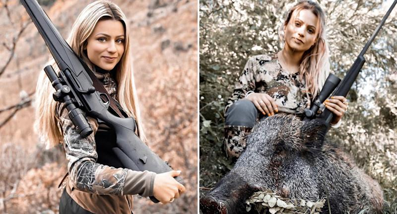 Johanna Clermont, 23, is pictured holding hunting rifles and with a dead boar.