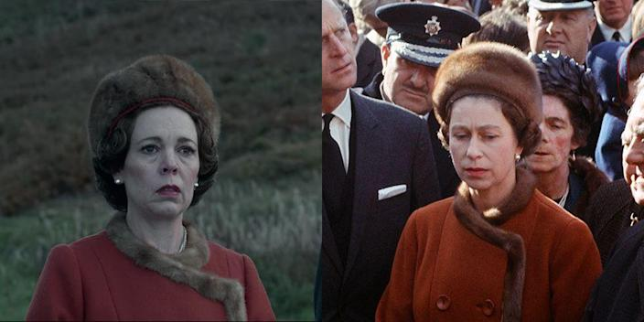 """<p>The monarch was thrown into a crisis when the tragic disaster happened in Aberfan in 1966. When Queen Elizabeth visited the town, she wore a burnt orange coat dress, trimmed with mink fur and a mink cap, both on the show and in real life.</p><p><strong>RELATED</strong>: <a href=""""https://www.goodhousekeeping.com/life/a42390/what-happens-when-the-queen-dies/"""" rel=""""nofollow noopener"""" target=""""_blank"""" data-ylk=""""slk:What Will Happen When Queen Elizabeth II Dies?"""" class=""""link rapid-noclick-resp"""">What Will Happen When Queen Elizabeth II Dies?</a></p>"""
