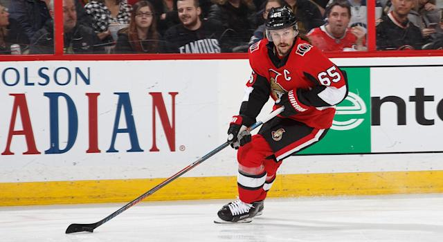 "<a class=""link rapid-noclick-resp"" href=""/nhl/players/4491/"" data-ylk=""slk:Erik Karlsson"">Erik Karlsson</a> trade rumours have picked up steam. (Andre Ringuette/NHLI via Getty Images)"