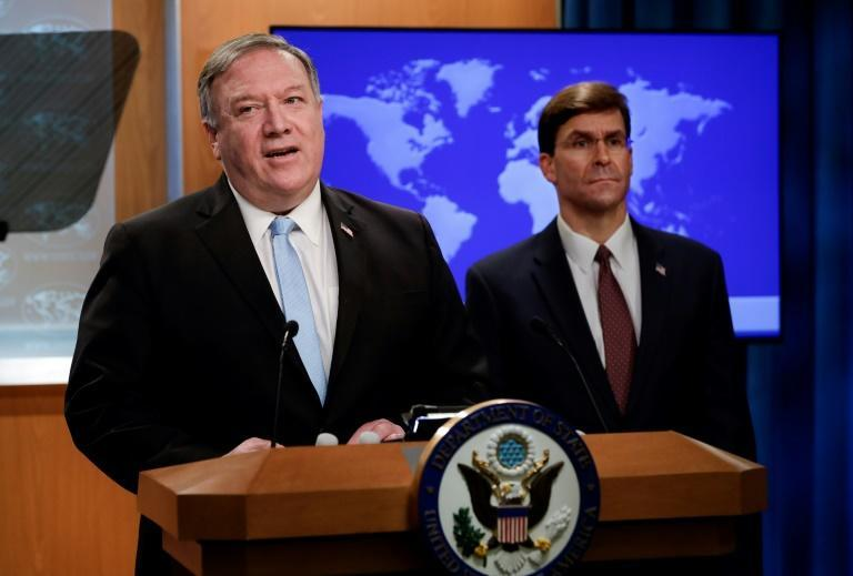 US Secretary of State Mike Pompeo (left) and Defense Secretary Mark Esper, seen here in June 2020, will travel to New Delhi for talks one week before US elections
