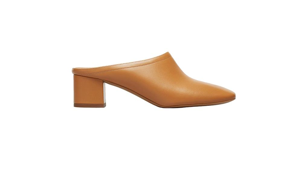 "<p>Here's a low, minimal heel that your mom can wear all day long.<br><br>The Day Mule, $155, <a href=""https://www.everlane.com/products/womens-day-heel-mule-cognac?collection=womens-shoes"" rel=""nofollow noopener"" target=""_blank"" data-ylk=""slk:everlane.com"" class=""link rapid-noclick-resp"">everlane.com</a> </p>"