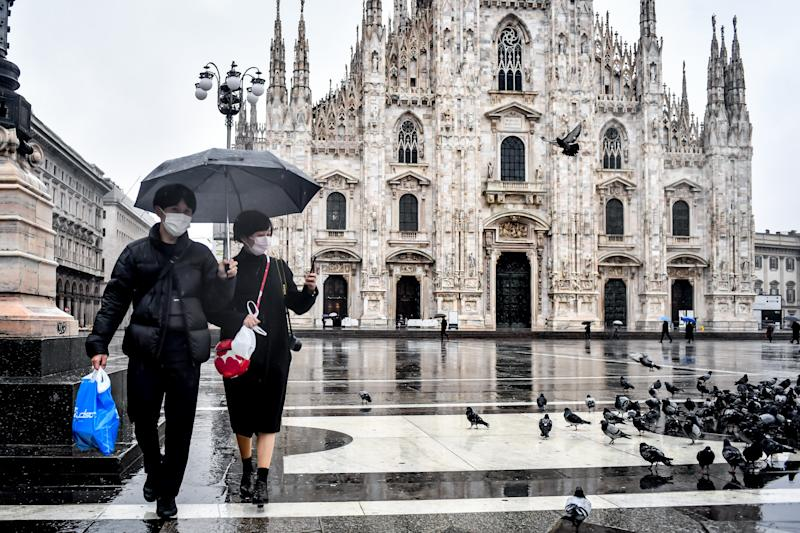 Tourist in Piazza Duomo during the coronavirus COVID-19 outbreak in Milan, Italy on Mar. 2, 2020. (Photo by Claudio Furlan - LaPresse/Sipa USA)