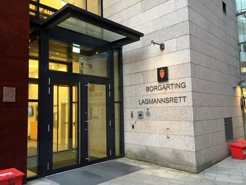 A sign of the Borgarting Court of Appeals is seen in Oslo