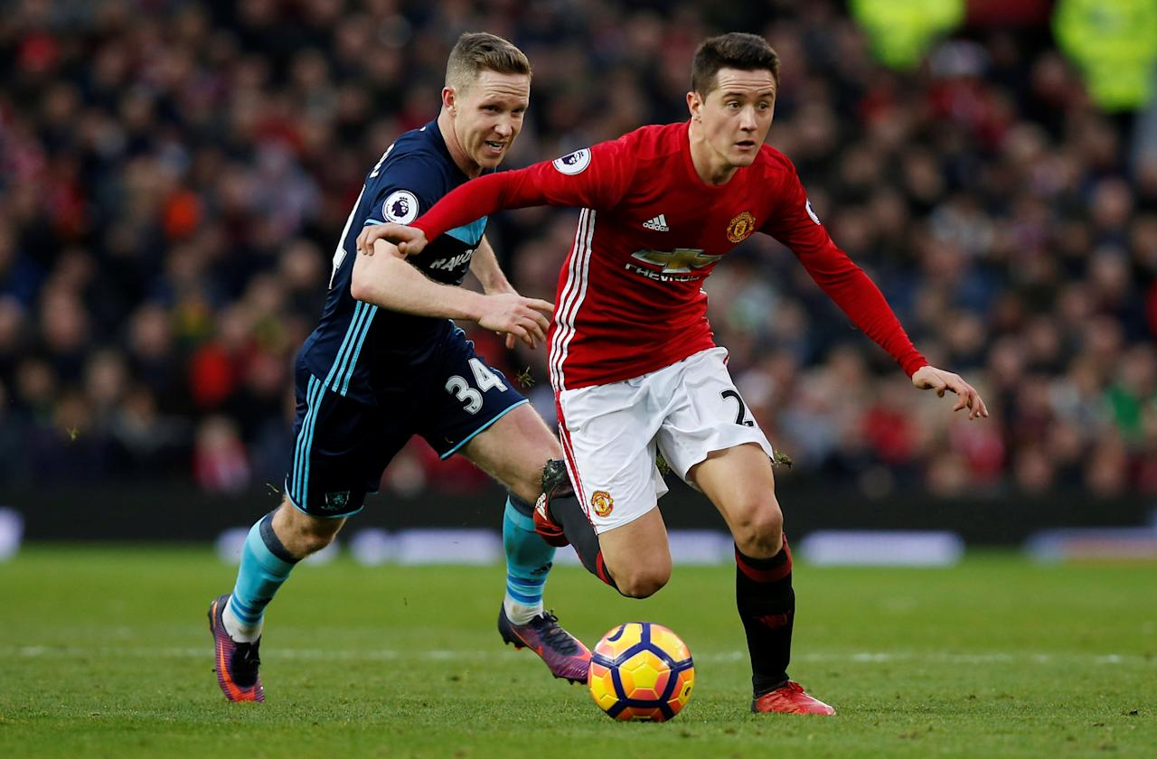 "FILE PHOTO: Britain Football Soccer - Manchester United v Middlesbrough - Premier League - Old Trafford - 31/12/16 Manchester United's Ander Herrera in action with Middlesbrough's Adam Forshaw  Reuters / Andrew Yates / File Photo Livepic EDITORIAL USE ONLY. No use with unauthorized audio, video, data, fixture lists, club/league logos or ""live"" services. Online in-match use limited to 45 images, no video emulation. No use in betting, games or single club/league/player publications. Please contact your account representative for further details."