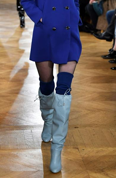 In contrast to the denim and berets showcased during the Dior show, designer Vanessa Seward presented a sexed-up collection of short dresses paired with knee-high boots during the Fall-Winter 2017-2018 ready-to-wear fashion show in Paris