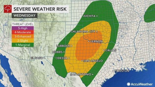 An outbreak of severe weather is forecast for portions of Texas and Oklahoma on Wednesday.