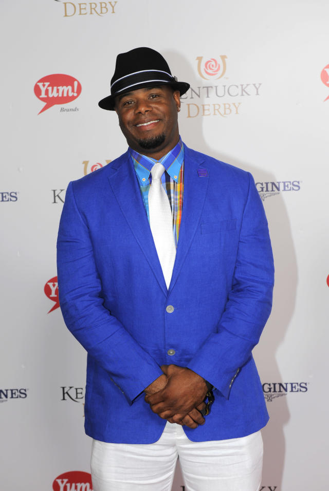 Ken Griffey Jr. is photographed at the 140th Kentucky Derby Saturday, May 3, 2014 in Louisville Ky. (Photo by Joe Imel/Invision/AP)