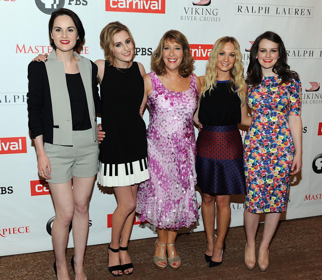 "Michelle Dockery, Laura Carmichael, Phyllis Logan, Joanne Froggatt, and Sophie McShera arrive at the ""Downton Abbey"" photo call at The Beverly Hilton Hotel on August 6, 2013 in Beverly Hills, California."