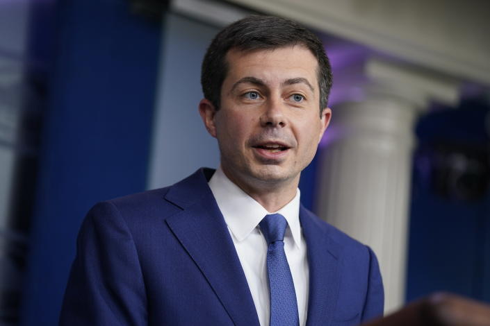 Secretary of Transportation Secretary Pete Buttigieg speaks during a press briefing at the White House, Wednesday, May 12, 2021, in Washington. (AP Photo/Evan Vucci)