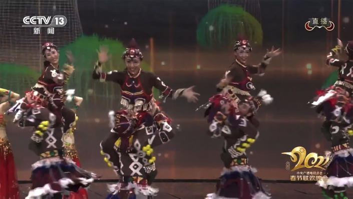 In this image taken from video footage run by China's CCTV via AP Video, dancers in blackface and costumes portraying Africans perform on stage during the Spring Festival Gala, one of the world's most-watched TV programs in Beijing on Friday, Feb. 12, 2021. (CCTV via AP)