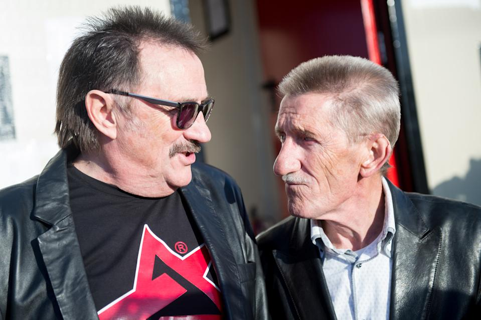 Paul Chuckle and Barry Chuckle of The Chuckle Brothers backstage during day 3 of Bestival 2015 at Robin Hill Country Park on September 12, 2015 in Newport, Isle of Wight.  (Photo by Ollie Millington/Redferns)