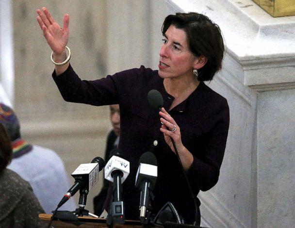 PHOTO: Rhode Island Governor Gina M. Raimondo speaks during an Interfaith Coalition to Reduce Poverty Vigil at the Rhode Island State House in Providence, Jan. 7, 2020. (Barry Chin/The Boston Globe via Getty Images, FILE)