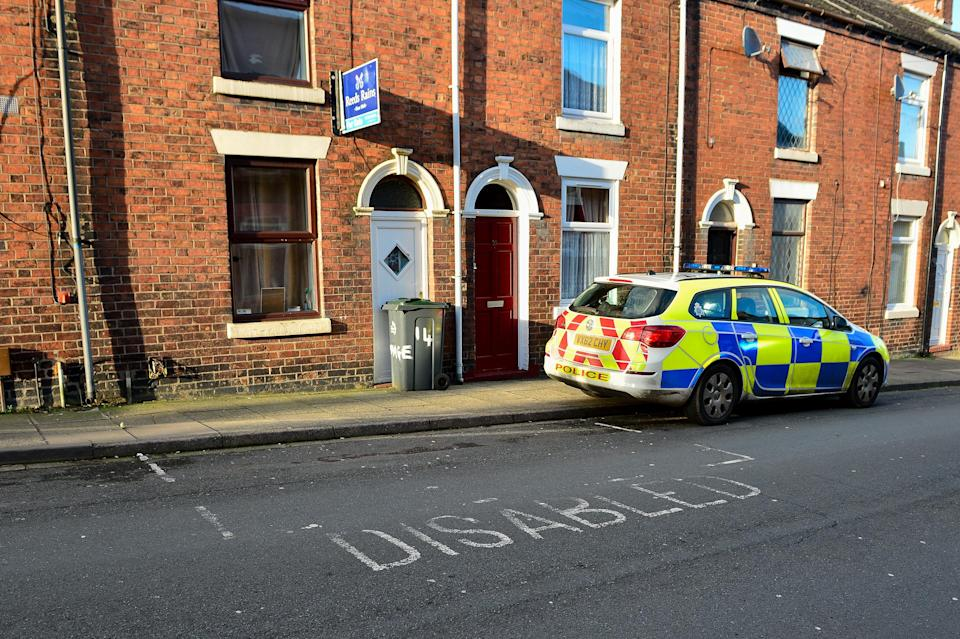 The street in Stoke-on-Trent where Kirsty Sharman placed the offensive note on an ambulance. (SWNS)