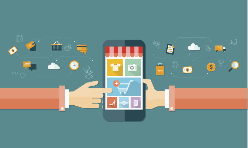 A cartoon pair of hands touches a smartphone screen displaying an icon of a shopping cart