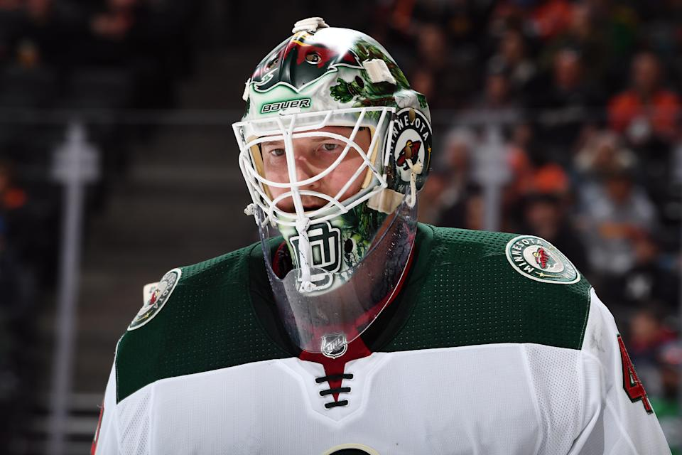 ANAHEIM, CA - MARCH 8:  Devan Dubnyk #40 of the Minnesota Wild skates during the game against the Anaheim Ducks at Honda Center on March 8, 2020 in Anaheim, California. (Photo by John Cordes/NHLI via Getty Images) *** Local Caption ***