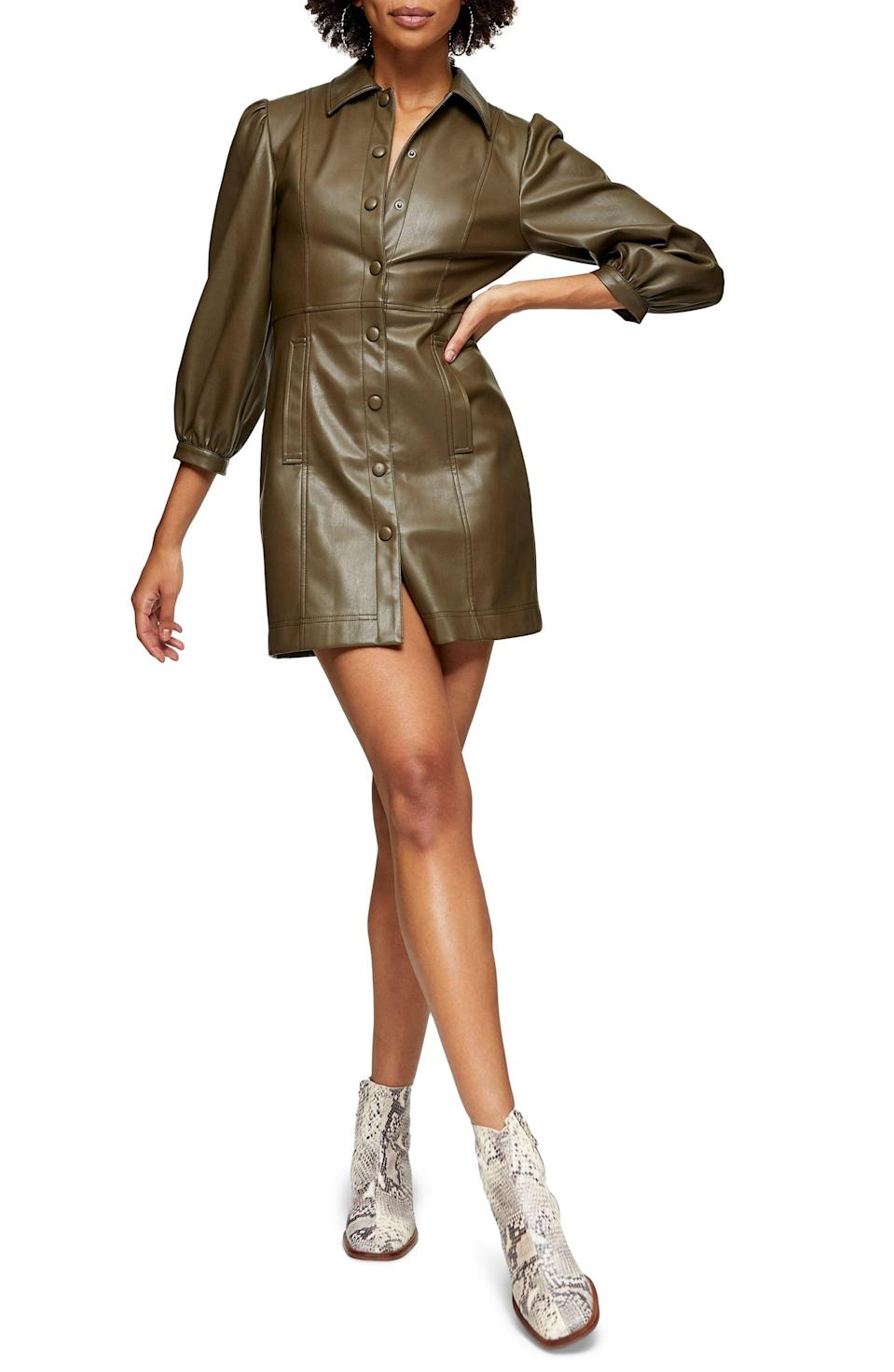 <p>Tap into the colored-leather trend with this <span>Topshop Long Sleeve Faux Leather Shirtdress</span> ($33, originally $78).</p>