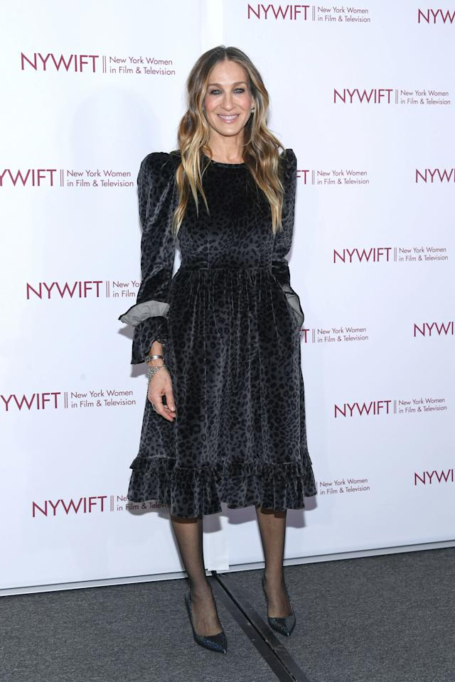 <p>The former 'Sex and the City' star wore the perfect winter dress: a black, velvet number from Batsheva. <em>[Photo: Getty]</em> </p>