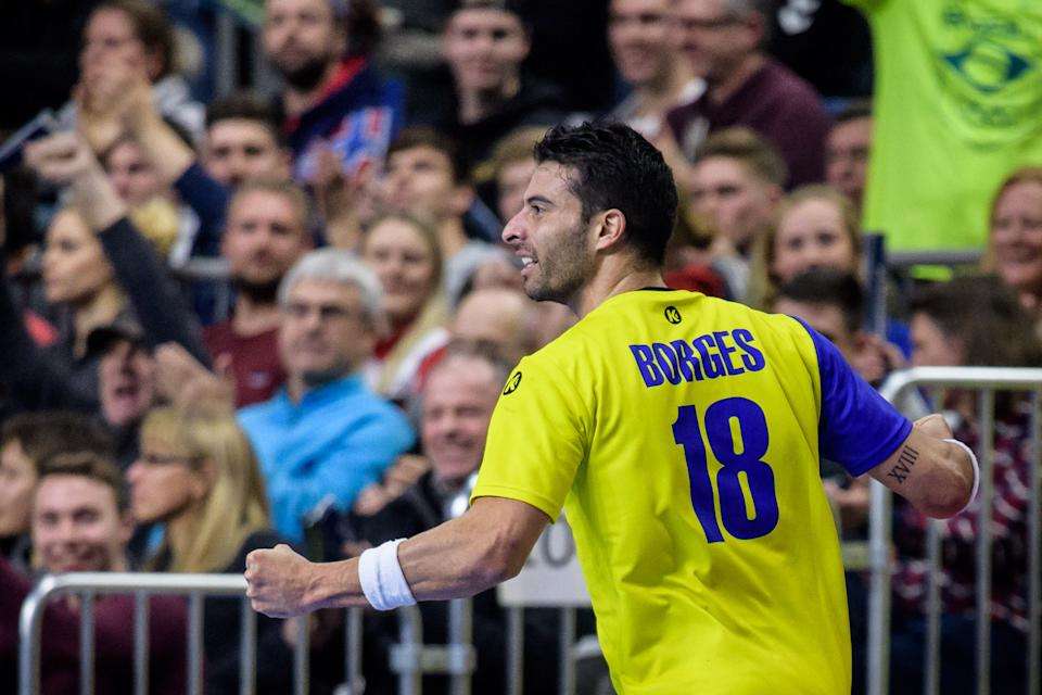 COLOGNE, GERMANY - JANUARY 20: Felipe Borges #18 of Brazil reacts during the Main Group 1 match at the 26th IHF Men's World Championship between Brazil and Croatia at the Lanxess Arena on January 20th, 2019 in Cologne, Germany. (Photo by Jörg Schüler/Getty Images)