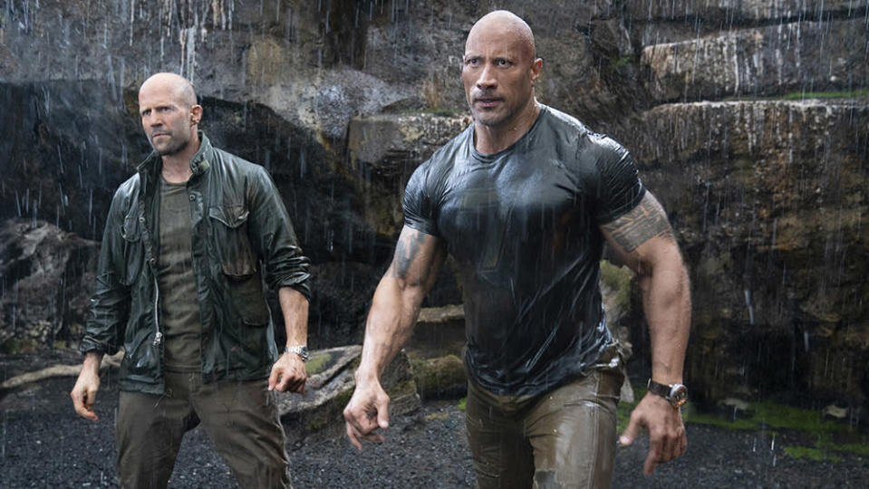 """(from left) Deckard Shaw (Jason Statham) and Luke Hobbs (Dwayne Johnson) in """"Fast & Furious Presents: Hobbs & Shaw,"""" directed by David Leitch."""