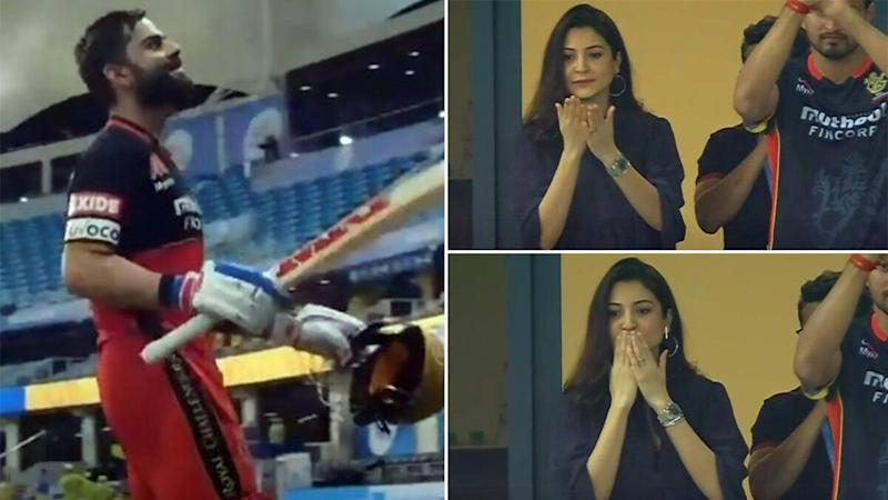 IPL 2020: Mom-to-Be Anushka Sharma Cheering for Virat Kohli During the CSK vs RCB Match Is the Best Thing You'll See on the Internet Today! (View Pics)