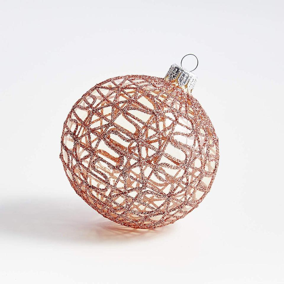<p>This <span>Blush Net Ball Ornament</span> ($7) is so pretty, you'll want more than just one. </p>
