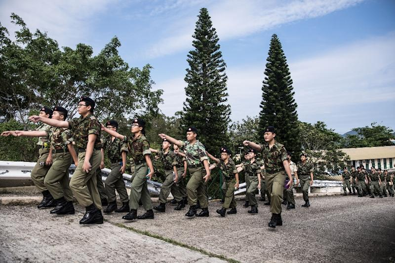 Military-style youth groups are increasingly popular in Hong Kong despite the fact there is no army to join (AFP Photo/DALE DE LA REY)