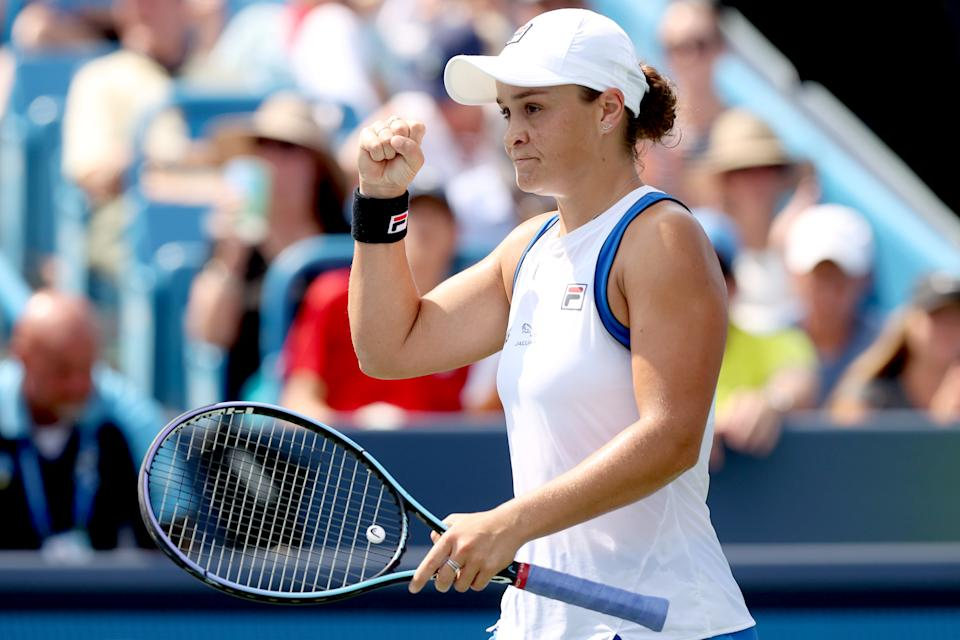 MASON, OHIO - AUGUST 22: Ashleigh Barty of Australia celebrates match point against Jil Teichmann of Switzerland during the final of the Western & Southern Open at Lindner Family Tennis Center on August 22, 2021 in Mason, Ohio. (Photo by Matthew Stockman/Getty Images)