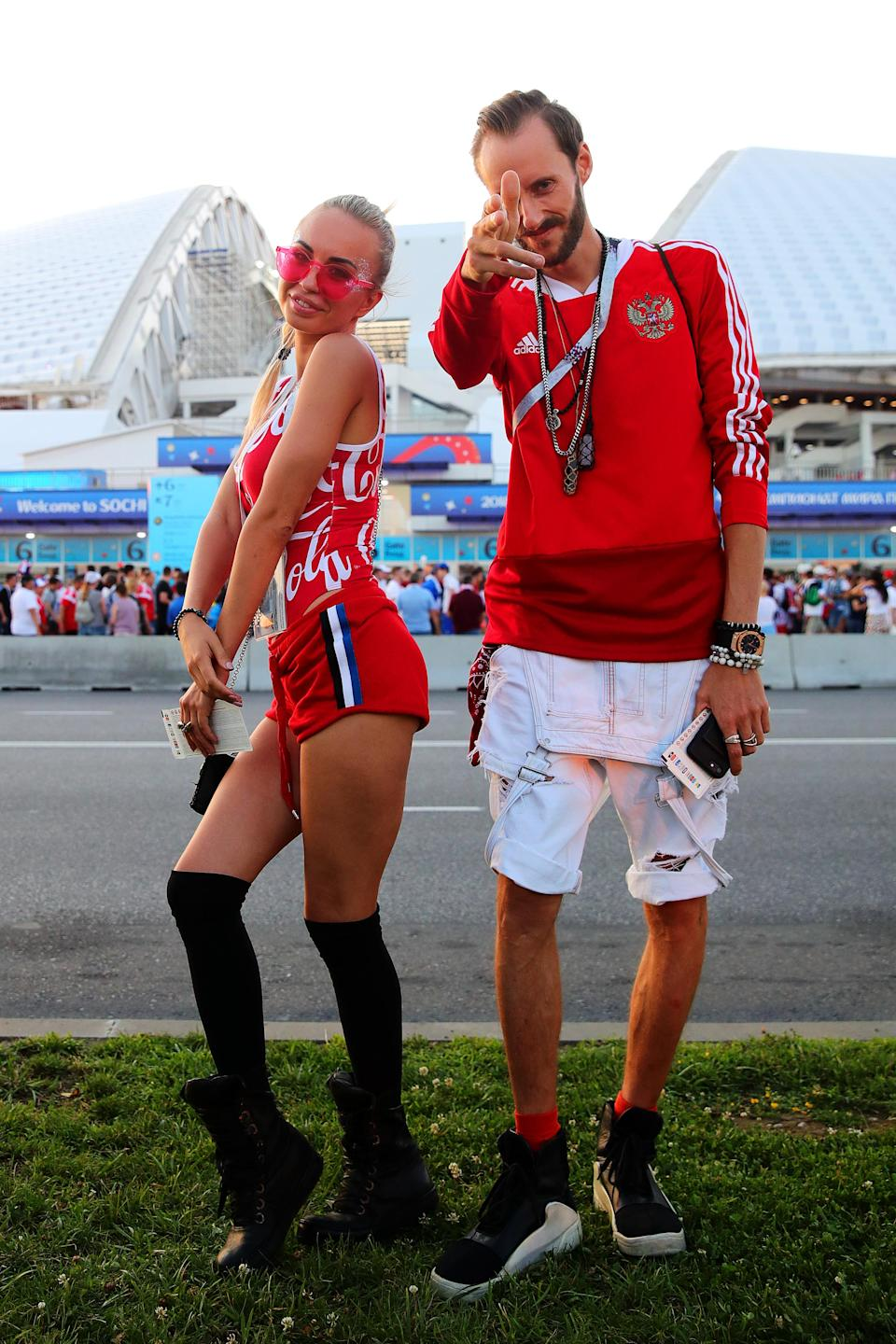 <p>Russia fans look on outside the stadium ahead of the 2018 FIFA World Cup Russia Quarter Final match between Russia and Croatia at Fisht Stadium on July 7, 2018 in Sochi, Russia. (Photo by Chris Brunskill/Fantasista/Getty Images) </p>