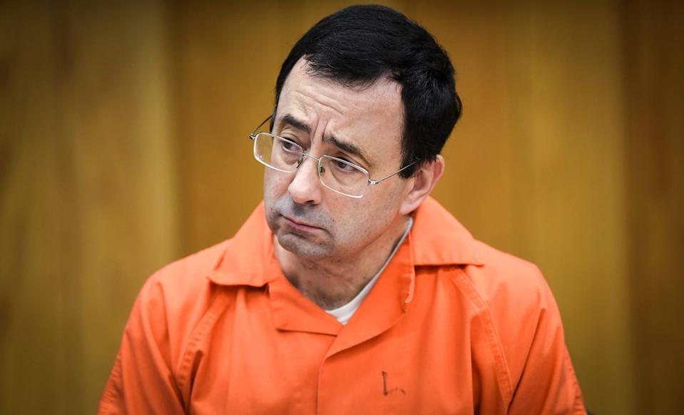 Longtime USA Gymnastics team physician Larry Nassar, now serving a 175-year prison sentence, in court in Charlotte, Michigan, in 2018.