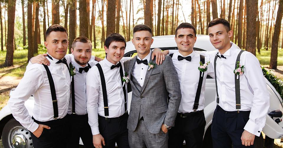 A groom with his groomsmen