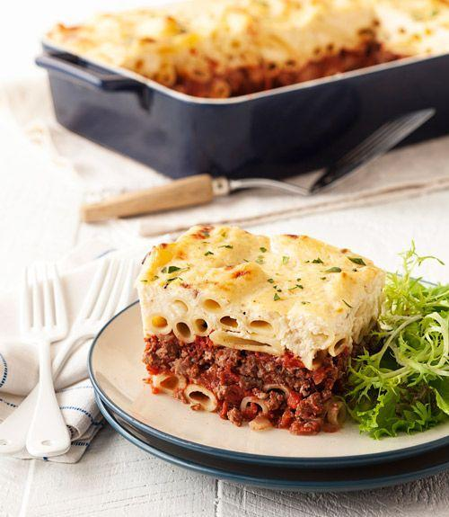 "<p>This classic dish has you alternating layers of noodles with Greek-inspired ground beef.</p><p><a href=""https://www.goodhousekeeping.com/food-recipes/a15596/greek-ziti-bake-recipe-ghk0314/"" rel=""nofollow noopener"" target=""_blank"" data-ylk=""slk:Get the recipe for Greek Ziti Bake »"" class=""link rapid-noclick-resp""><em><span class=""redactor-invisible-space"">Get the recipe for Greek Ziti Bake »</span> </em></a><br></p>"