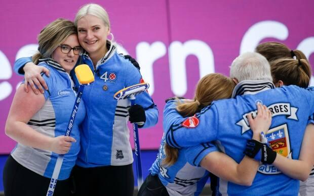 Skip Laurie St-Georges, centre right, and her Quebec teammates have been the surprise of the Scotties Tournament of Hearts.