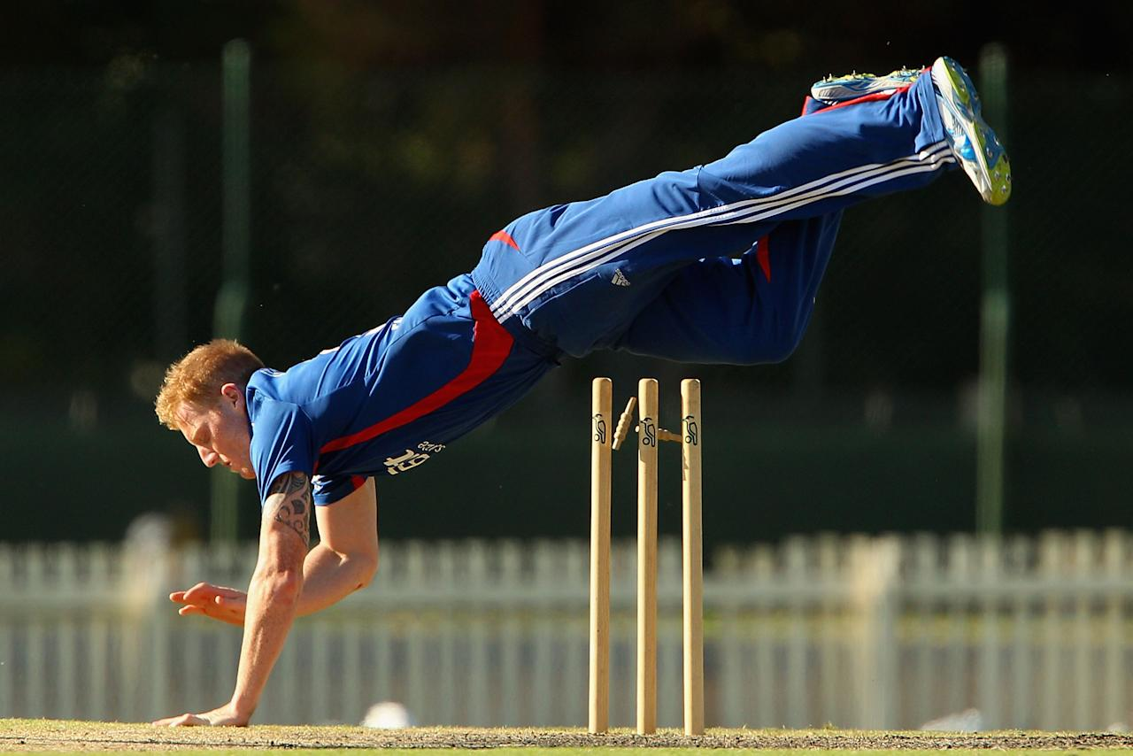 MELBOURNE, AUSTRALIA - FEBRUARY 11:  Ben Stokes of the Lions falls after attempting a run out during the International Tour match between the Victoria Bushrangers and England Lions at Junction Oval on February 11, 2013 in Melbourne, Australia.  (Photo by Robert Prezioso/Getty Images)