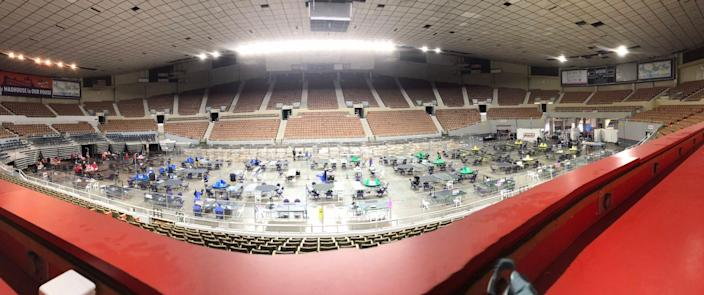 A view of the election recount floor at the Veterans Memorial Coliseum in Phoenix on Saturday, May 1, 2001.
