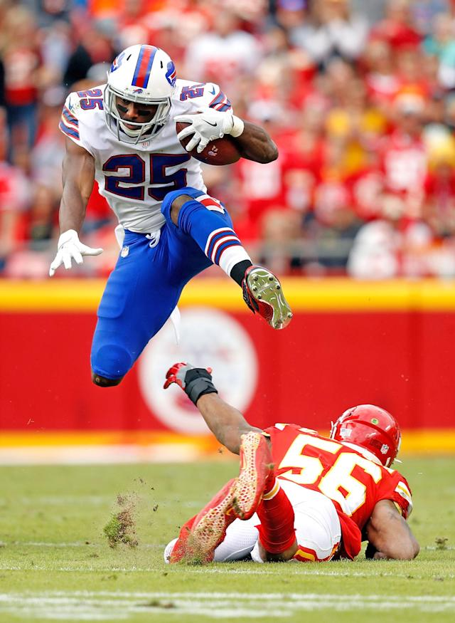 <p>Running back LeSean McCoy #25 of the Buffalo Bills leaps over inside linebacker Derrick Johnson #56 of the Kansas City Chiefs during the game at Arrowhead Stadium on November 26, 2017 in Kansas City, Missouri. (Photo by Jamie Squire/Getty Images) </p>