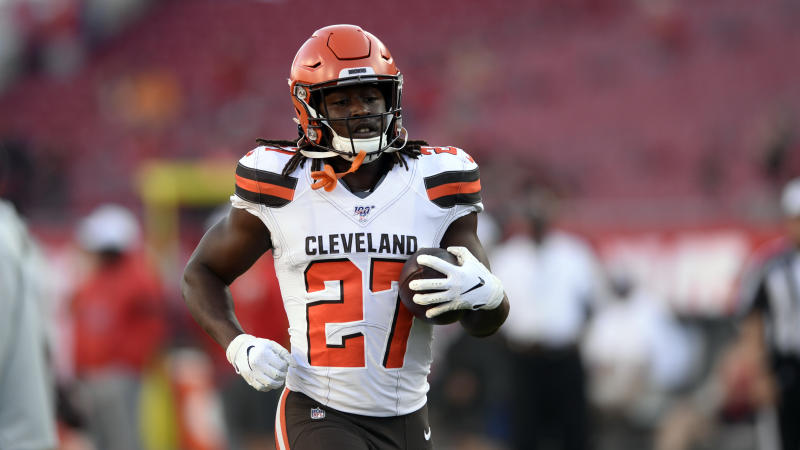 Cleveland Browns running back Kareem Hunt will miss the first half of the season. (AP)