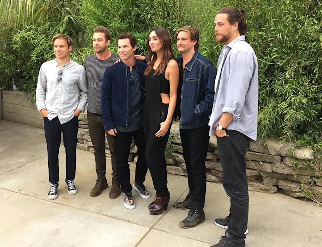 <p>Finn Cole, Scott Speedman, Shawn Hatosy, Carolina Guerra, Jake Weary, and Ben Robson pose for pictures before the <em>Animal Kingdom</em> 'Tacos and Tequila' Event on May 15, 2017 in Burbank, Calif. (Photo: Giana Mucci/Yahoo) </p>
