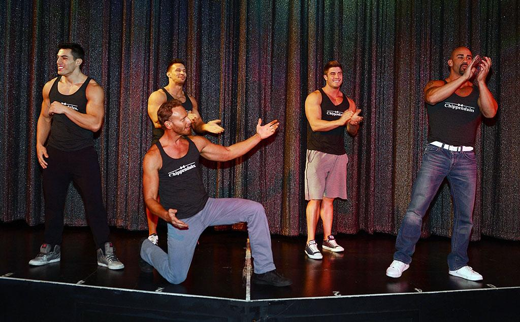 Ian Ziering (C) rehearses with the Las Vegas cast of Chippendales (L-R) Johnny Howes, Sami Eskelin, Gavin McHale and John Rivera at the Rio All-Suite Hotel and Casino on June 6, 2013 in Las Vegas, Nevada.