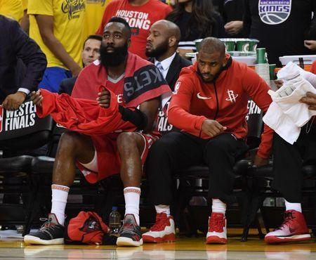 May 26, 2018; Oakland, CA, USA; Houston Rockets guard James Harden (left) and guard Chris Paul (right) on the bench against the Golden State Warriors in the second half in game six of the Western conference finals of the 2018 NBA Playoffs at Oracle Arena. Mandatory Credit: Kyle Terada-USA TODAY Sports
