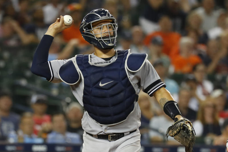 New York Yankees catcher Gary Sanchez throws in the seventh inning of a baseball game against the Detroit Tigers in Detroit, Tuesday, Sept. 10, 2019. (AP Photo/Paul Sancya)