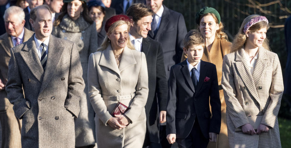 KING'S LYNN, ENGLAND - DECEMBER 25: Prince Edward, Earl of Wessex and Sophie, Countess of Wessex with James Viscount Severn and Lady Louise Windsor attend the Christmas Day Church service at Church of St Mary Magdalene on the Sandringham estate on December 25, 2019 in King's Lynn, United Kingdom. (Photo by UK Press Pool/UK Press via Getty Images)