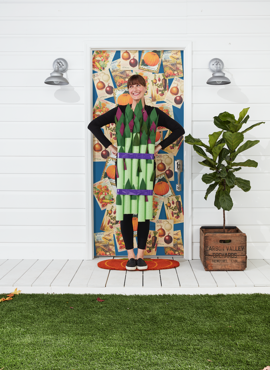 """<p>Show off your green thumb and love for farmer's markets with this cute asparagus costume. It's super easy to put together, promise.</p><p><strong>Make the Costume: </strong>Gather five lime green pool noodles. Cut leaves from purple and green felt (<a href=""""https://www.countryliving.com/diy-crafts/how-to/a3048/halloween-templates-1009/"""" rel=""""nofollow noopener"""" target=""""_blank"""" data-ylk=""""slk:see template"""" class=""""link rapid-noclick-resp"""">see template</a>); you will need 10 to 12 for each stalk. Adhere to noodles, concentrating them at the top, with spray adhesive. Bundle pool noodles with purple duct tape. Tape a pair of suspenders to the back of the noodles and drape over shoulders. </p><p><a class=""""link rapid-noclick-resp"""" href=""""https://www.amazon.com/Oodles-Noodles-Deluxe-Foam-Pool/dp/B0787CFRDM/?tag=syn-yahoo-20&ascsubtag=%5Bartid%7C10050.g.28181767%5Bsrc%7Cyahoo-us"""" rel=""""nofollow noopener"""" target=""""_blank"""" data-ylk=""""slk:SHOP POOL NOODLES"""">SHOP POOL NOODLES</a></p>"""