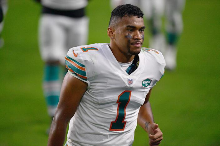 Tua Tagovailoa #1 of the Miami Dolphins leaves the field after the game against the Los Angeles Chargers at Hard Rock Stadium on November 15, 2020 in Miami Gardens, Florida. (Photo by Mark Brown/Getty Images)