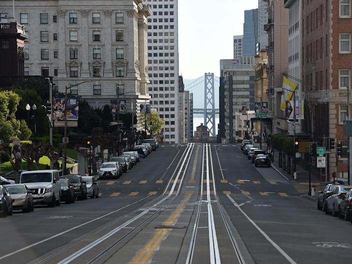The street in San Francisco seen without its iconic cable cars.