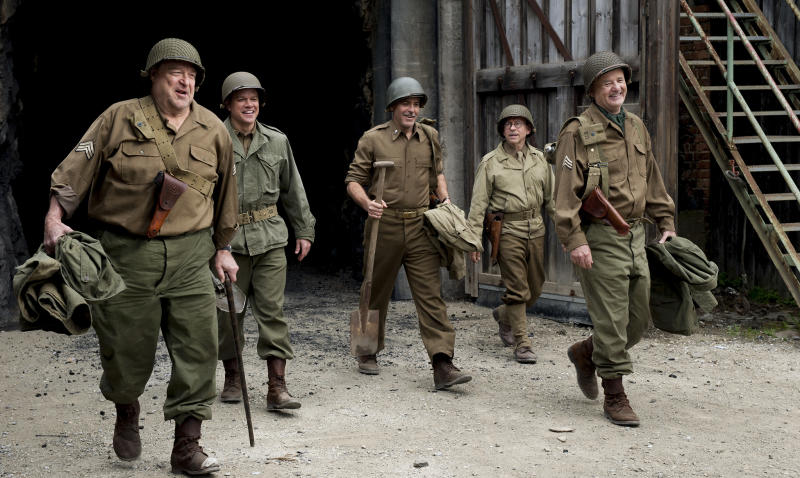 "John Goodman, Matt Damon, George Clooney, Bob Balaban and Bill Murray in ""The Monuments Men."""