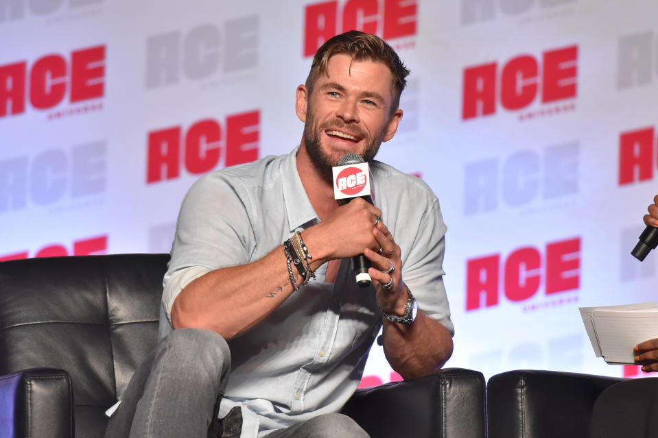 Chris Hemsworth participates during a Q&A panel on day three at the Ace Comic-Con at the Donald E Stephens Convention Center on Sunday, Oct. 13, 2019, in Rosemont, Ill. (Photo by Rob Grabowski/Invision/AP)