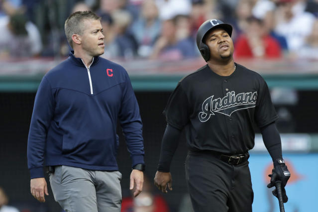 Indians third baseman Jose Ramirez exited Saturday's game in the first inning with right wrist discomfort. (AP Photo/Tony Dejak)