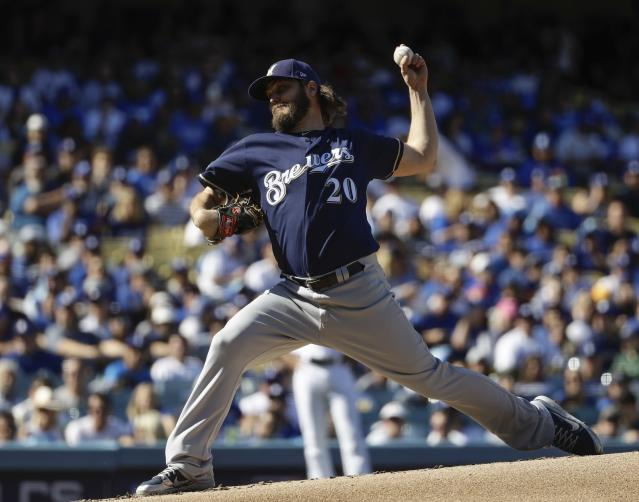 Milwaukee Brewers starting pitcher Wade Miley made five pitches in NLCS Game 5 before manager Craig Counsell went to his bullpen. (AP)